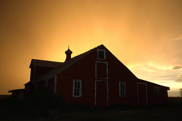 Barn Art Print featuring the photograph Barn At Sunset by Jerry McElroy