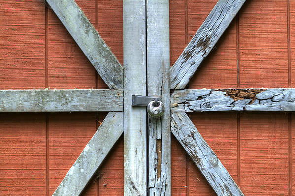 Barn Door Red Lock White Cross Dustin Ryan Charleston South Carolina Colorful British Flag Art Print featuring the photograph Barn Door 1 by Dustin K Ryan