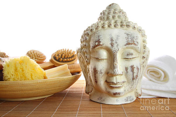 Accessory Art Print featuring the photograph Bath Accessories With Buddha Statue by Sandra Cunningham