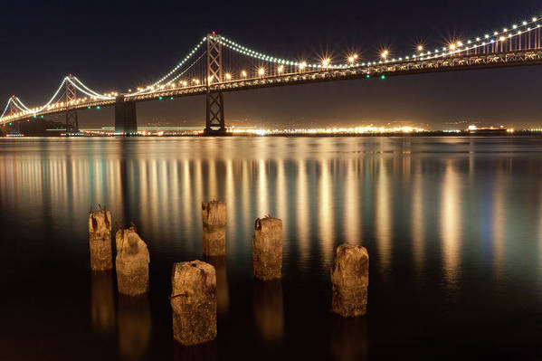 Horizontal Art Print featuring the photograph Bay Bridge Reflections by Connie Spinardi