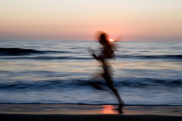 Run Art Print featuring the photograph Beach Sprint by Brad Rickerby