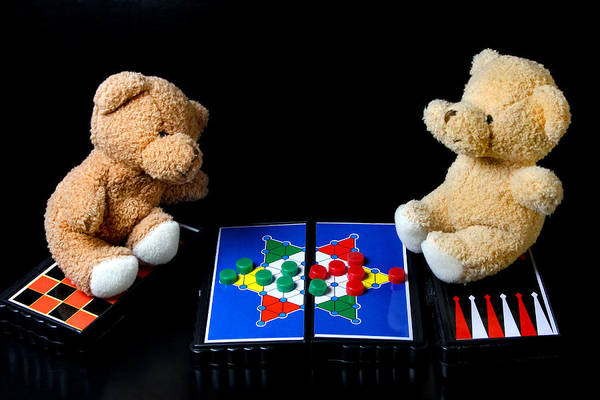Holiday Art Print featuring the photograph Bears Playing Halma by Elke Rampfl-Platte