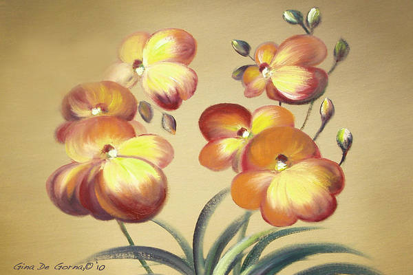 Orange Art Print featuring the painting Beautiful Orchid Flowers by Gina De Gorna
