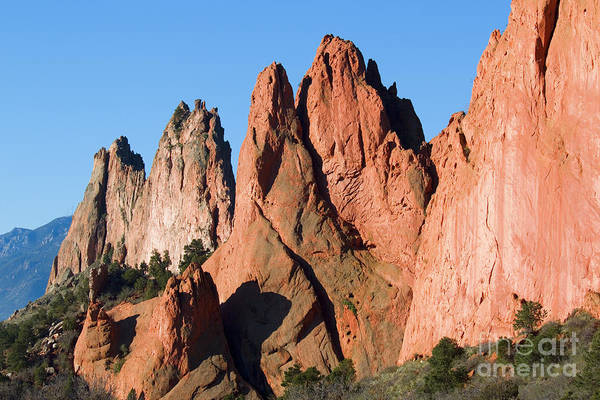 Garden Of The Gods Art Print featuring the photograph Beautiful Sandstone Spires In Garden Of The Gods Park by Steve Krull