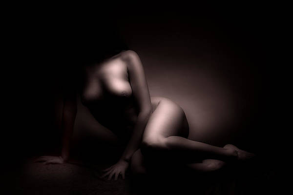 Nude Art Print featuring the photograph Beauty In The Dark by Naman Imagery