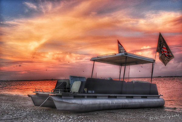 Boat Art Print featuring the photograph Beer Can Island Sunset by Allen Williamson