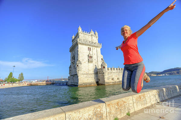 Lisbon Art Print featuring the photograph Belem Tower Jumping by Benny Marty