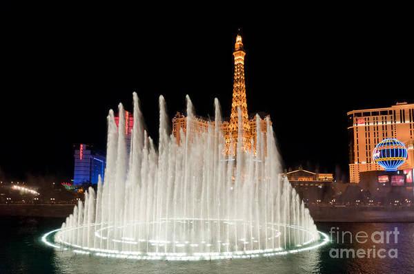 Las Vegas Art Print featuring the photograph Bellagio Fountains Night 2 by Andy Smy