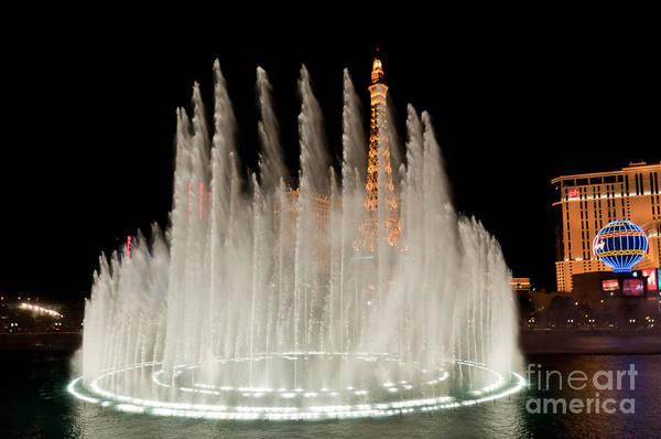 Las Vegas Art Print featuring the photograph Bellagio Fountains Night 3 by Andy Smy