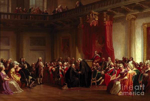 Interior Print featuring the painting Benjamin Franklin Appearing Before The Privy Council by Christian Schussele
