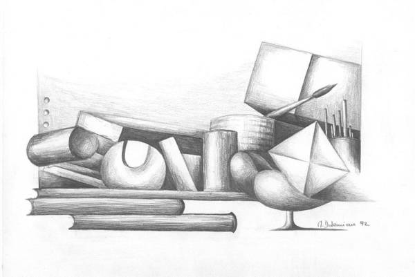 Still Life Art Print featuring the drawing Bibliotheque by Muriel Dolemieux