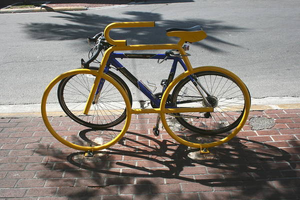 Bike Rack Art Print featuring the photograph Bike And Rack by Allan E Dooley Jr