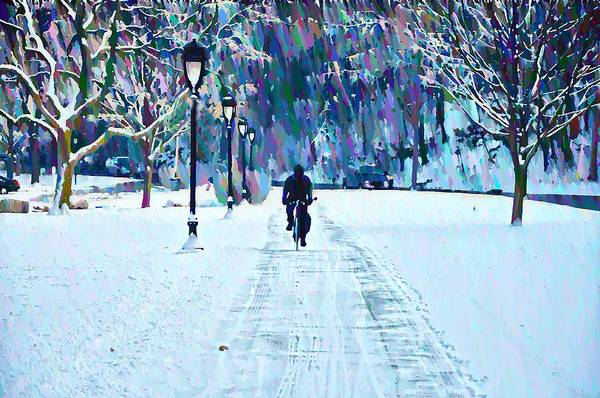 Bike Riding In The Snow Art Print featuring the photograph Bike Riding In The Snow by Bill Cannon