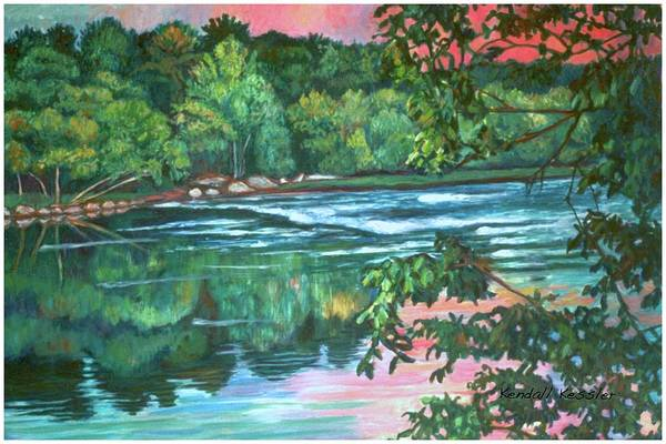 River Art Print featuring the painting Bisset Park Rapids by Kendall Kessler