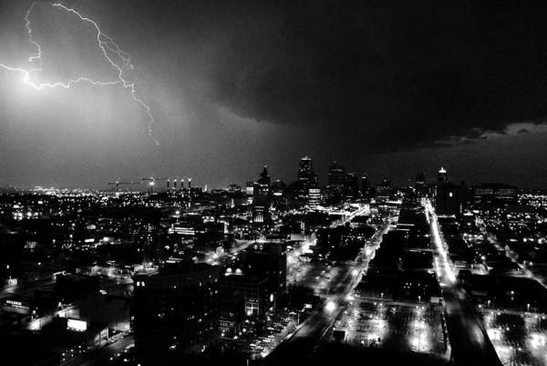 Black And White Art Print featuring the photograph Black And White Lighting Over Kansas City by Steven Crown