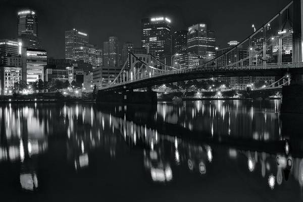 Pittsburgh Art Print featuring the photograph Black And White Lights by Frozen in Time Fine Art Photography