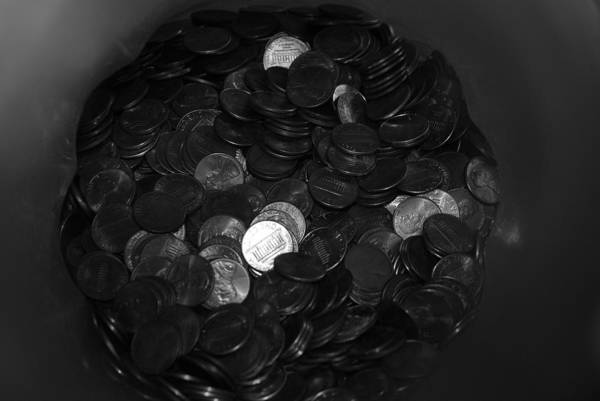 Abstract Art Print featuring the photograph Black And White Pennies by Rob Hans