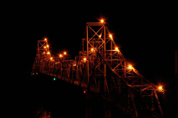 Bridge Art Print featuring the photograph Black Hawk At Night by Betsy Stahl
