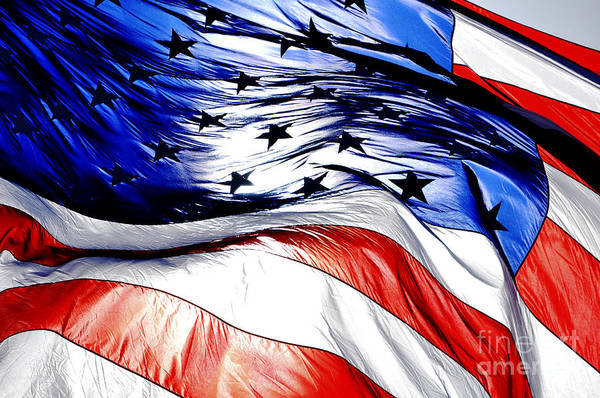 0824c7ffcee5 American Art Print featuring the photograph Blowing American Flag by Joe  Carini - Printscapes