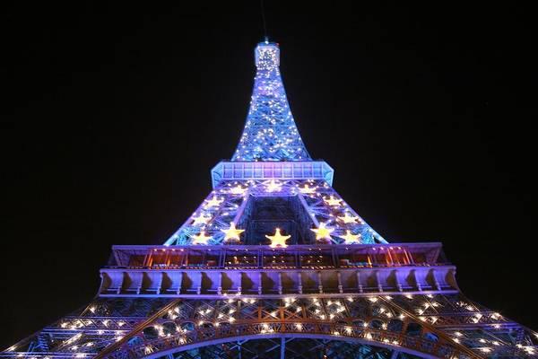 Eiffel Tower Art Print featuring the photograph Blue Eiffel by Chuck Kuhn