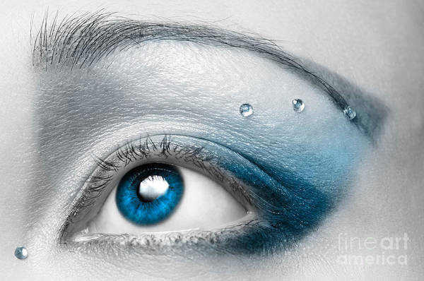 Eye Art Print featuring the photograph Blue Female Eye Macro With Artistic Make-up by Oleksiy Maksymenko