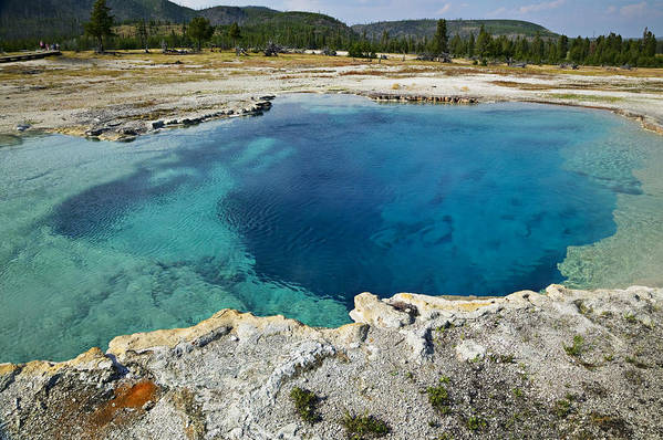 Hot Art Print featuring the photograph Blue Hot Springs Yellowstone National Park by Garry Gay