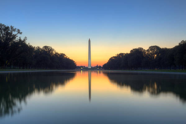 Washington Monument Art Print featuring the photograph Blue Hour At The Mall by Edward Kreis