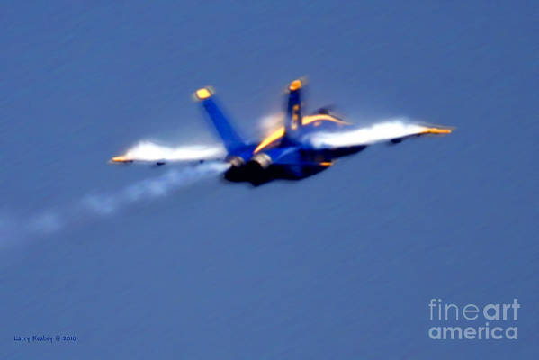 Blue Angles Art Print featuring the photograph Blue Solo by Larry Keahey