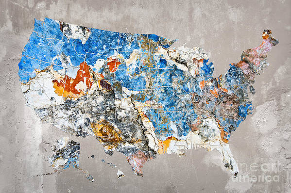Us Art Print featuring the photograph Blue Street Art Us Map by Delphimages Photo Creations