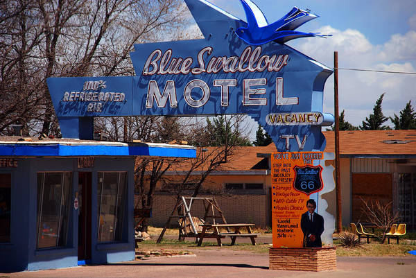 Route 66 Art Print featuring the photograph Blue Swallow Motel On Route 66 by Susanne Van Hulst
