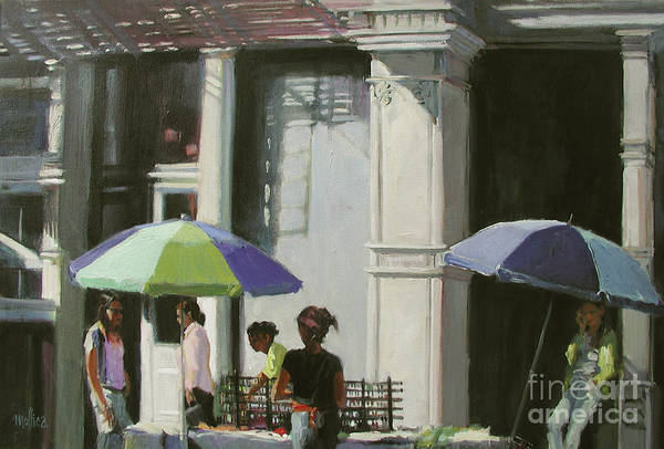 City Art Print featuring the painting Blue Umbrellas by Patti Mollica