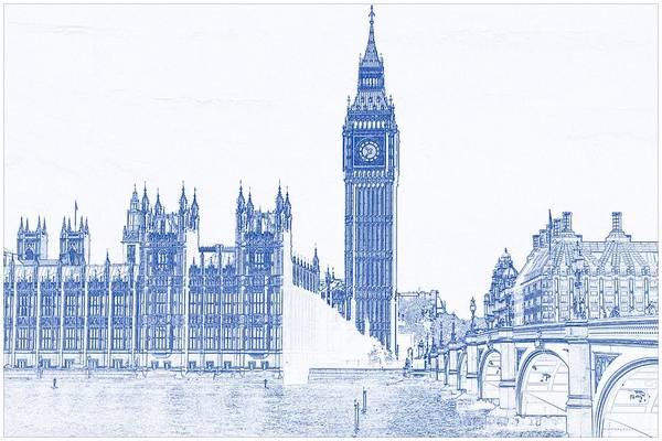 Blueprint drawing of modern building 8 london big ben tower art blueprint drawing of modern building 8 london big ben tower art print featuring the painting blueprint malvernweather Choice Image