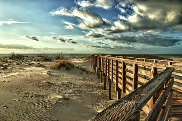 Alabama Photographer Art Print featuring the digital art Boardwalk On The Beach by Michael Thomas