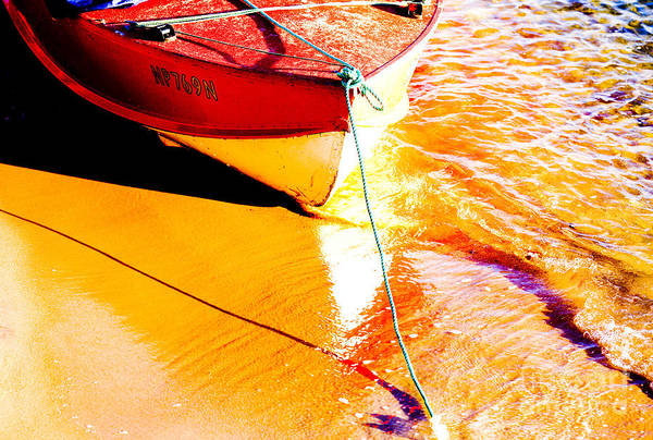 Boat Abstract Yellow Water Orange Art Print featuring the photograph Boat Abstract by Sheila Smart Fine Art Photography