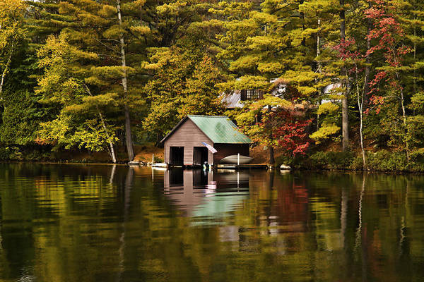 Adirondacks Art Print featuring the photograph Boat House by David Simons