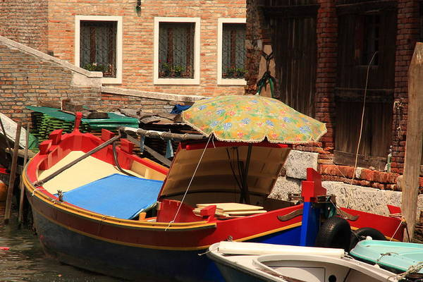 Venice Art Print featuring the photograph Boat With Umbrella On Canal In Venice by Michael Henderson