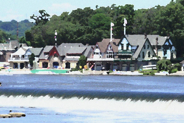 Boathouse Art Print featuring the photograph Boathouse Row - Palette Knife by Lou Ford