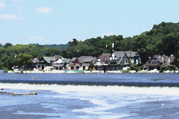 Boathouse Art Print featuring the photograph Boathouse Row 2 - Palette Knife by Lou Ford