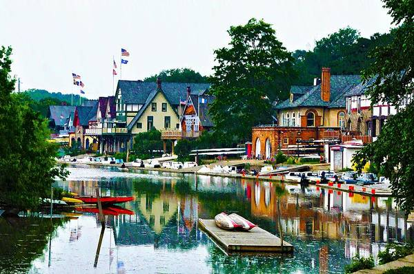Boathouse Row In Philly Art Print featuring the photograph Boathouse Row In Philly by Bill Cannon