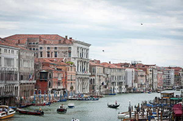 Horizontal Art Print featuring the photograph Boats And Gondolas In Grand Canal by AlexandraR