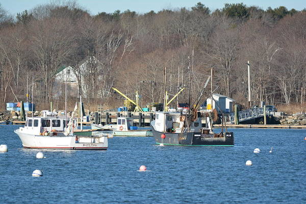 Rye Harbor Art Print featuring the photograph Boats At Rye Harbor, Nh by Jo-Ann Matthews