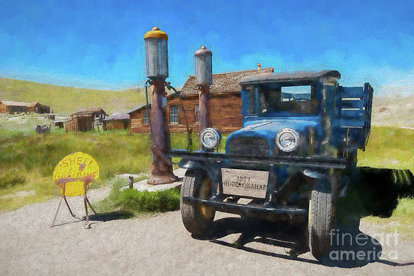 California Art Print featuring the painting Bodie California Ghost Town Old Vintage Dodge Truck Ap by Dan Carmichael