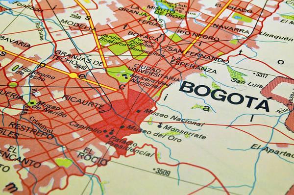 Bogota Art Print featuring the photograph Bogota City Map. by Fernando Barozza