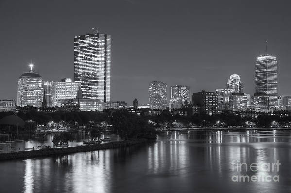 Clarence Holmes Art Print featuring the photograph Boston Night Skyline V by Clarence Holmes