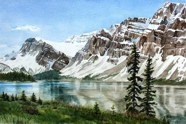 Bow Lake Art Print featuring the painting Bow Lake Alberta No.2 by Debbie Homewood