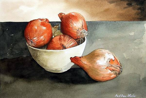 Still Life Art Print featuring the painting Bowl Of Onions by Paul Dene Marlor