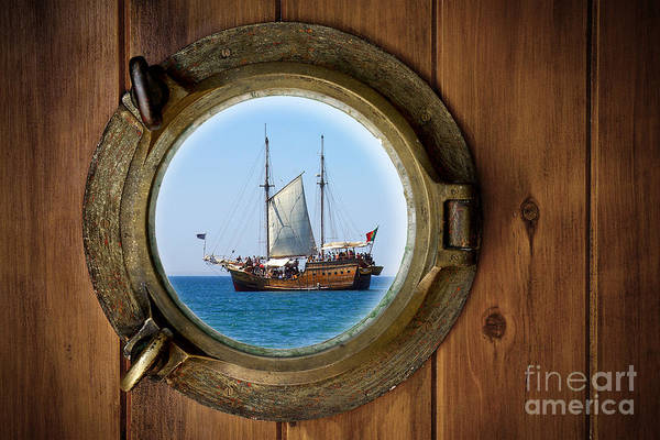Aged Art Print featuring the photograph Brass Porthole by Carlos Caetano