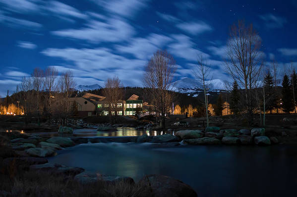 Landscape Art Print featuring the photograph Breckenridge Blue River Night by Michael J Bauer