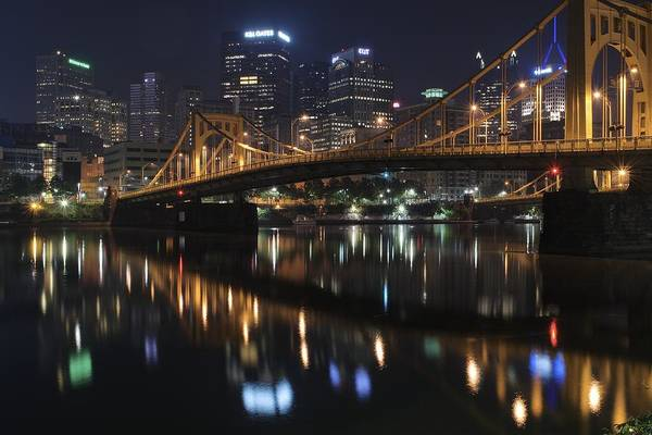 Pittsburgh Art Print featuring the photograph Bridge In The Heart Of Pittsburgh by Frozen in Time Fine Art Photography