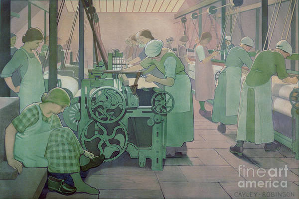 Factory; Twenties; Women; Machinery; Looms; Protective Clothing Art Print featuring the painting British Industries - Cotton by Frederick Cayley Robinson